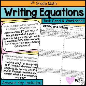 Writing and Solving Equations Task Cards and Worksheet (24 Questions)