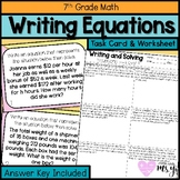 Writing and Solving Equations Task Cards and Worksheet (24