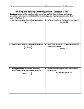 Writing and Solving Equations Test