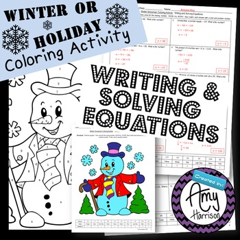 Writing And Solving Equations Winter Holiday Coloring Activity