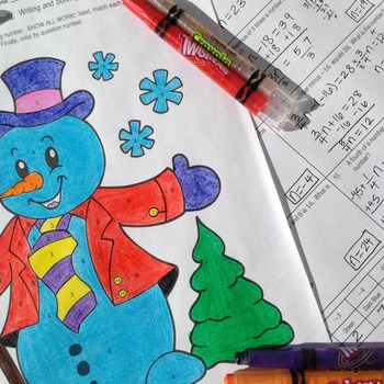 Writing and Solving Equations - Winter/Holiday Coloring Activity