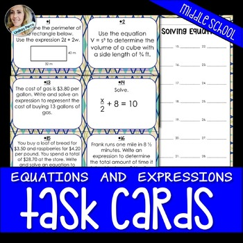 Equations and Expressions Task Cards