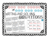 Writing and Solving Equations with an Unknown | Tic tac toe or Match