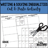 Writing and Solving Inequalities Cut & Paste Activity