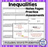 Inequalities - Notes and Practice (Includes Word Problems!)