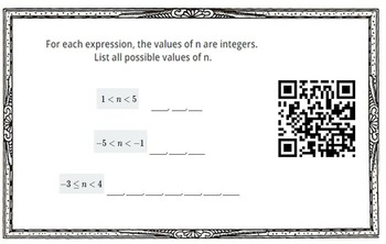 Writing and Solving Inequalities with QR Code Answers