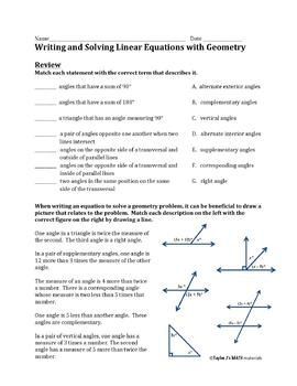 Writing and Solving Linear Equations with Geometry Worksheet