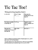 Writing and Solving Linear Inequalities Tic Tac Toe