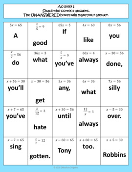 Writing & Solving One-Step Equations Growth Mindset Activity