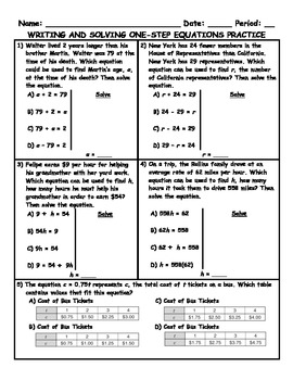 Writing and Solving One-Step Equations Word Problem Practi