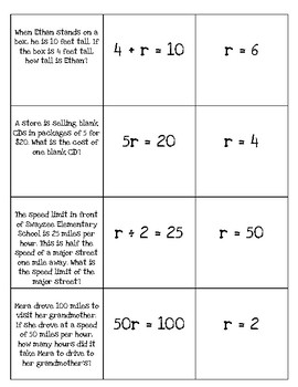 Writing and Solving One step Equations from Word Problems-Matching