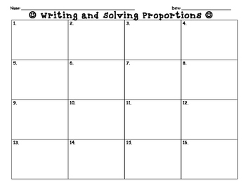 Writing and Solving Proportions Task Cards