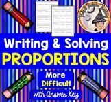 Writing and Solving Proportions Word Problems with Answer KEY More Difficult