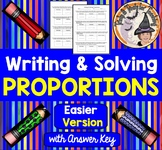Writing and Solving Proportions Word Problems with Answer KEY EASIER version
