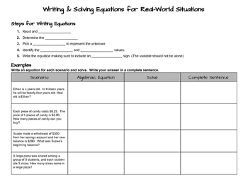 Writing and Solving Real World One-Step Equations Notes