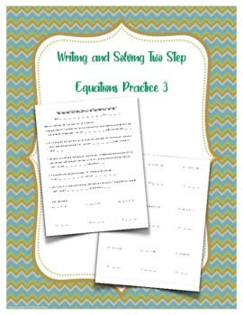 Writing and Solving Simple Equations Practice 1