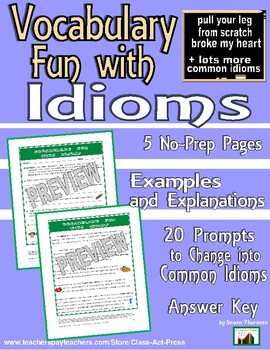 Writing & Vocabulary Activities: An Off-the-Wall Look at Idioms (3 P., Ans. Key)