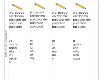 Writing and Work with words cards in Spanish