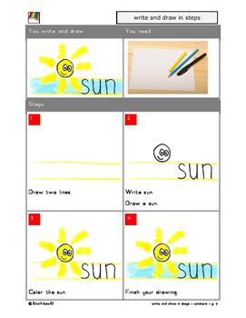 Writing and drawing step by step - outdoors