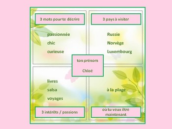 Writing and talking about yourself in French, French 1 and 2