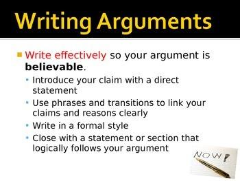 Writing argument (similar to persuasive writing)