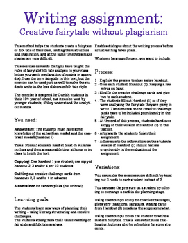 Writing assignment: Creative fairytale without plagiarism