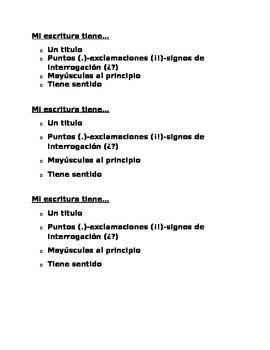 Writing checklist in Spanish