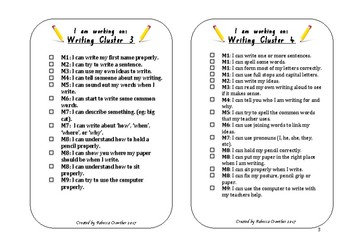 Writing cluster book inserts or lanyards