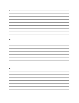 Writing complete sentences organizer