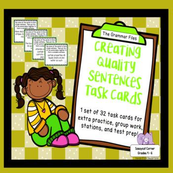 Writing Descriptive Sentences  - ELA Task Cards