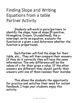Writing equations from tables Partner activity