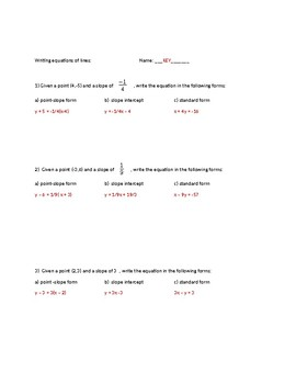 Writing equations of lines practice assignmnent