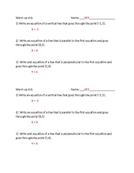Writing equations of lines warm ups