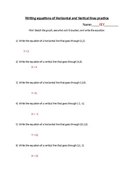 Writing equations of vertical and horizontal lines practice