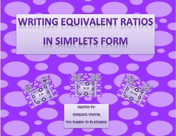 Writing equivalent ratios in simplest form.