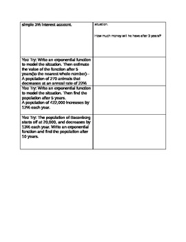 Writing exponential Functions given a word problem Notes