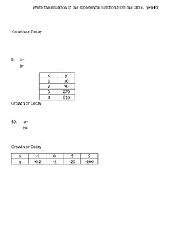 Writing exponential functions from a table