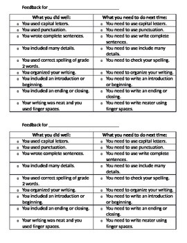 Writing feedback checklist