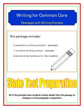 Writing for Common Core # 1 (state test preparation)