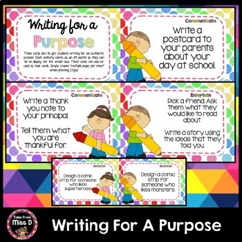 Writing For A Purpose Task Cards