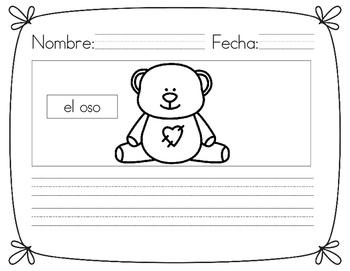 Writing Worksheets (Spanish and English) Friendship/Love
