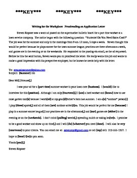 Writing for the Workplace: Proofreading an Application Letter