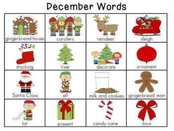 Monthly Writing Center Word Charts
