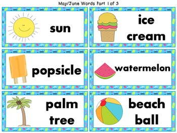 Monthly Word Wall Words with Pictures Word Cards