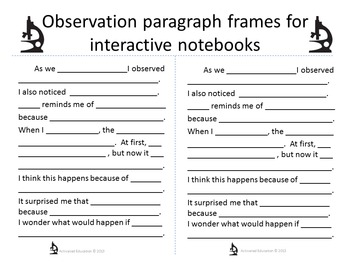 Science Sentence Frames: Scaffold and Differentiate Science Paragraphs