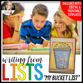 Writing from Lists: My Bucket List - Distance Learning