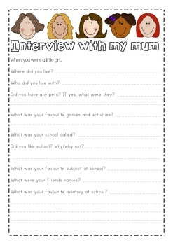Writing homework activity: Interview with my mum/mom