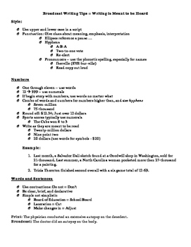 Writing in Broadcast Style Notes/Tips Page