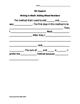 Writing in Math-Adding Mixed Numbers (with regrouping)