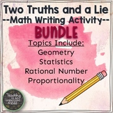 Writing in Math BUNDLE #1--Two Truths and a Lie--Middle Sc